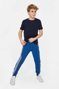 WE Fashion   gemêleerde joggingbroek met zijstreep blauw, Blauw