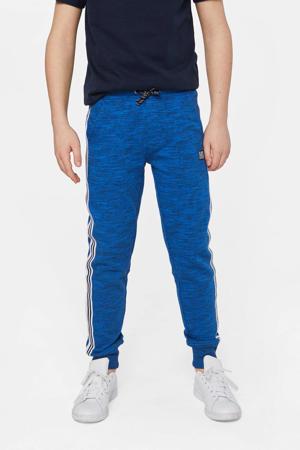 gemêleerde joggingbroek met zijstreep blauw