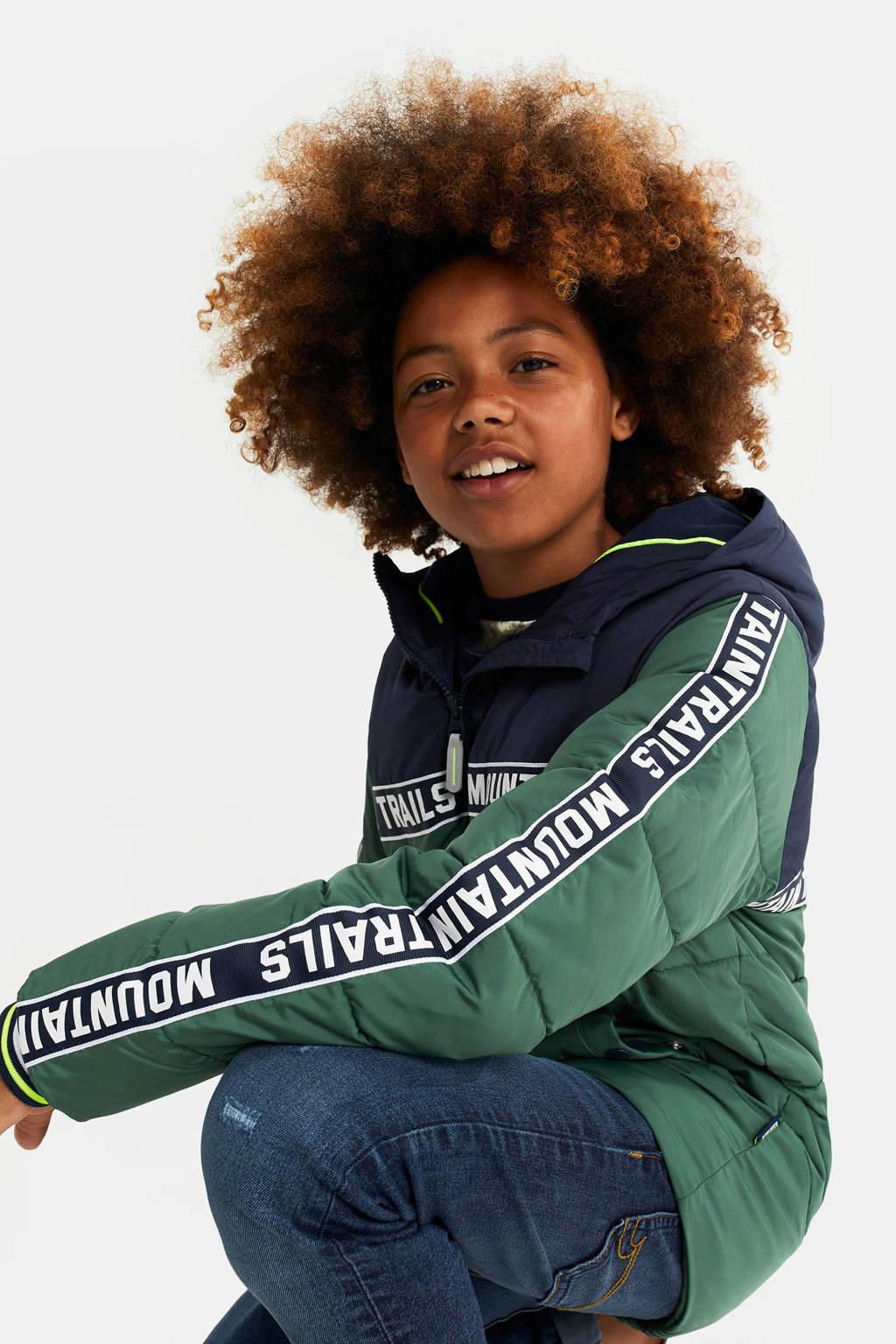 WE Fashion gewatteerde winterjas met contrastbies donkergroen/donkerblauw/wit, Donkergroen/donkerblauw/wit