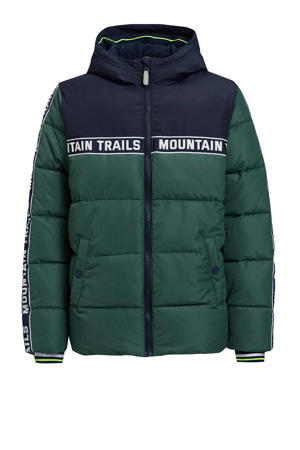 gewatteerde winterjas met contrastbies donkergroen/donkerblauw/wit