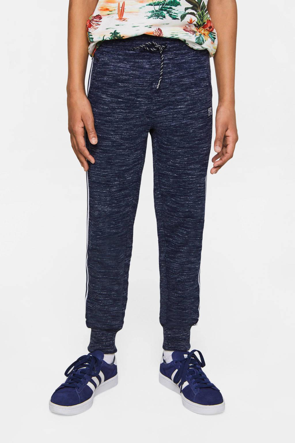 WE Fashion   gemêleerde joggingbroek met zijstreep donkerblauw, Donkerblauw