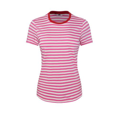 WE Fashion gestreept T-shirt roze/wit
