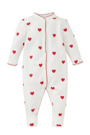 Baby Club onesie wit/rood hartjes