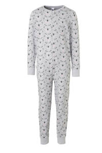 C&A Here & There onesie grijs/roze all over print, Grijs/roze