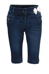 C&A Baby Club baby skinny jeans met borduursels donkerblauw, Donkerblauw