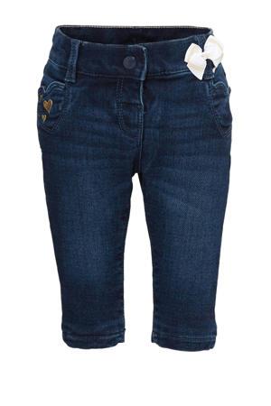 Baby Club baby skinny jeans met borduursels donkerblauw