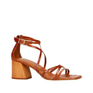 leren sandalettes crocoprint cognac