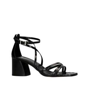 leren sandalettes crocoprint zwart