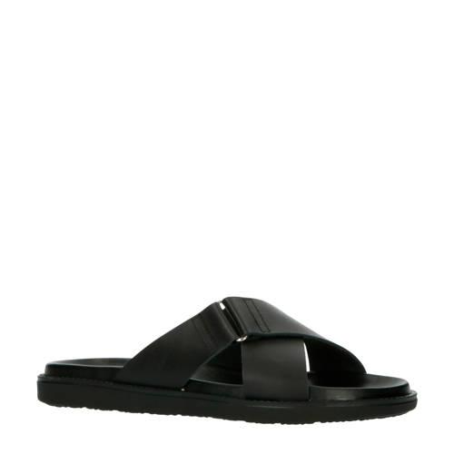 Bianco leren slippers zwart
