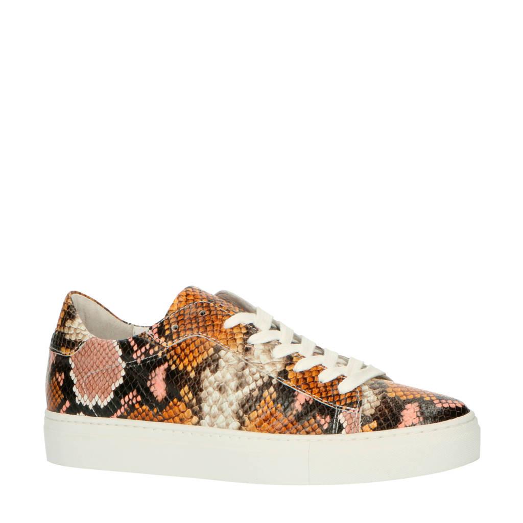 Bianco   leren sneakers slangenprint, Roze/multi