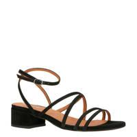 Bianco   suède sandalettes zwart, Zwart