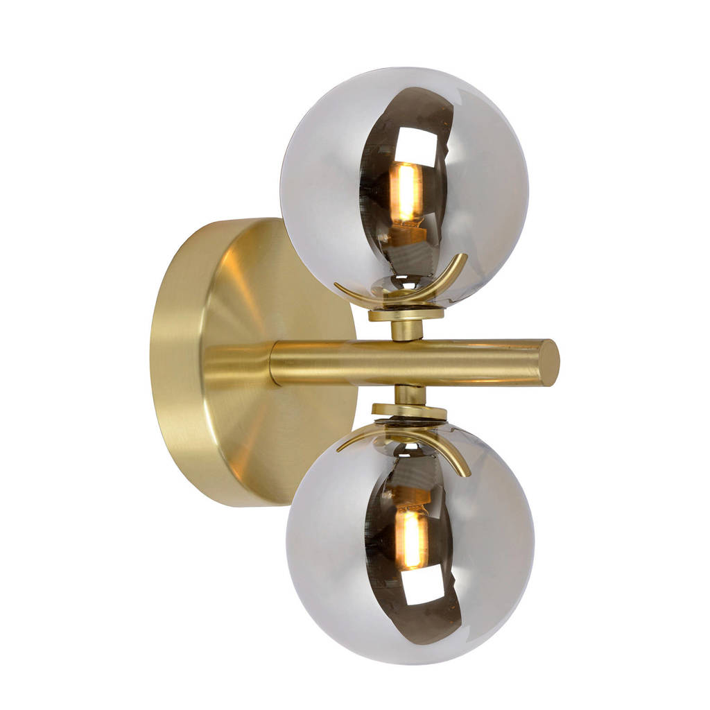 Lucide wandlamp Tycho, Mat Goud / Messing/Fumé
