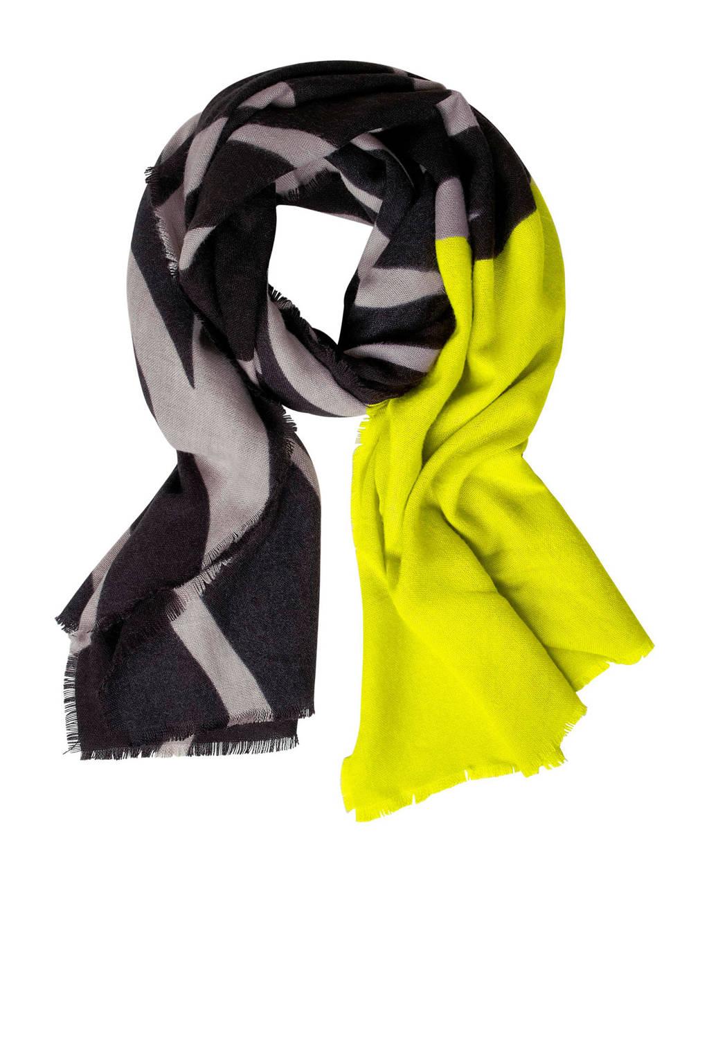 Street One sjaal groen, Geel/zwart
