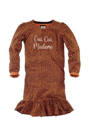 jersey jurk Adalyn met panterprint en ruches cognac