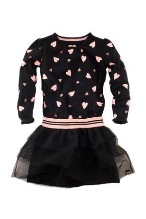 jersey jurk Rosita met hartjes en plooien zwart