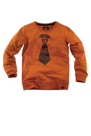 sweater Dorian met printopdruk cognac