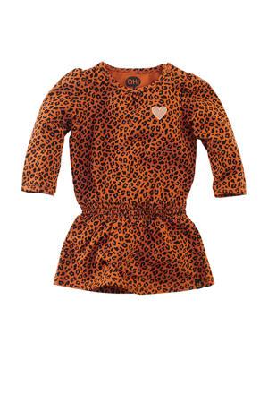jersey jurk Amalia met panterprint en ruches cognac