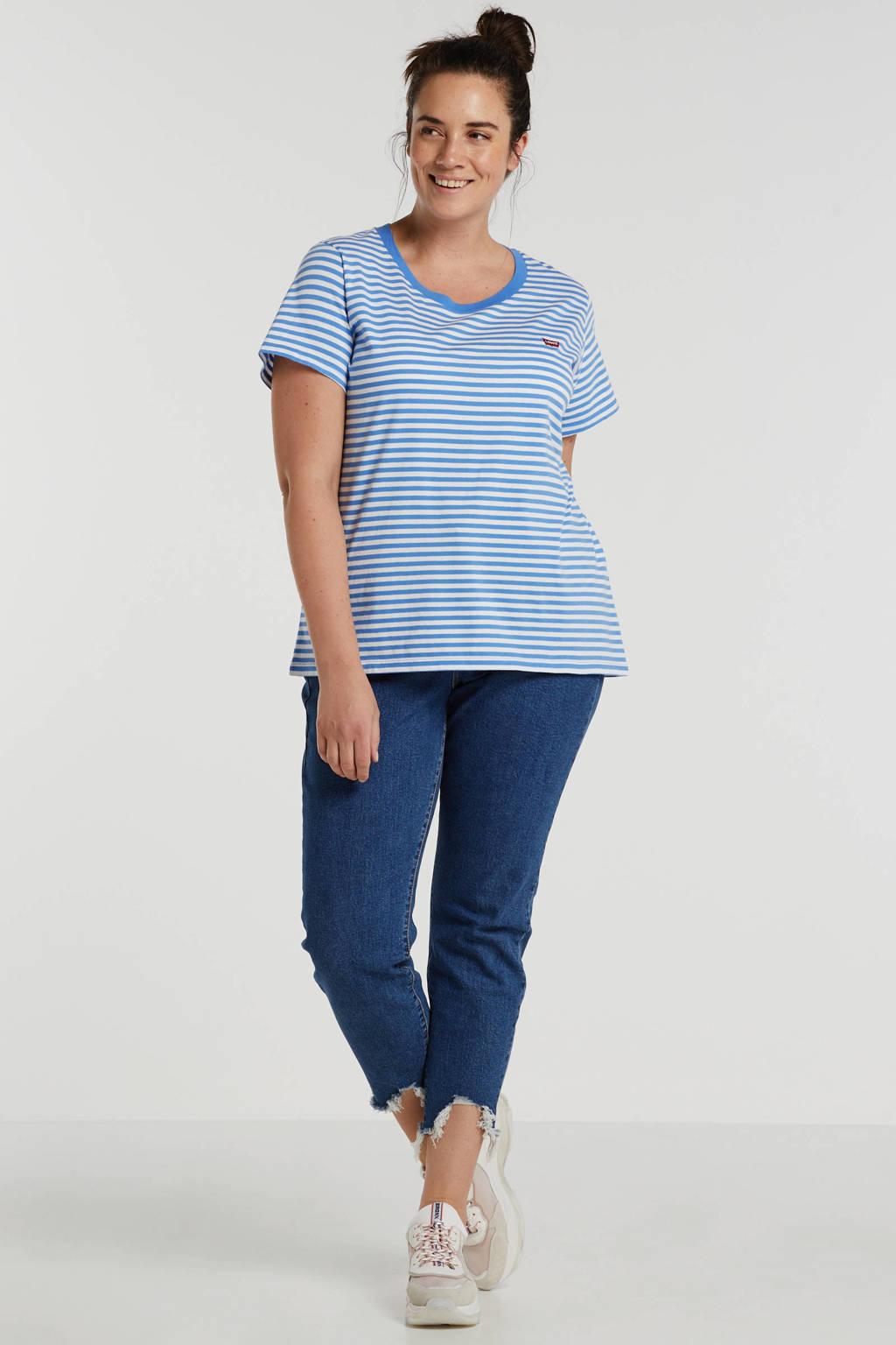 Levi's Plus gestreept T-shirt blauw/wit, Blauw/wit