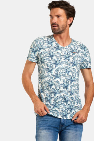 T-shirt met all over print lichtblauw/wit