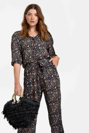 jumpsuit met all over print zwart/rood/wit