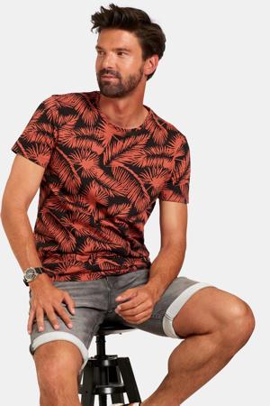 T-shirt met all over print rood/zwart
