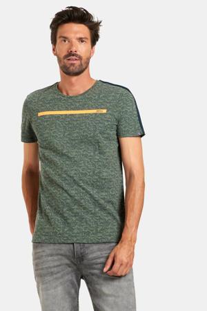 gemêleerd T-shirt donkergroen/oranje
