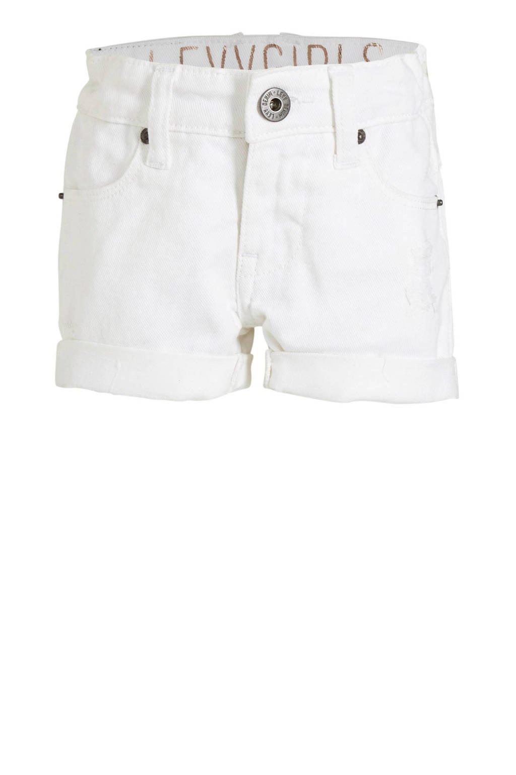 LEVV slim fit jeans short Guusje wit, Wit