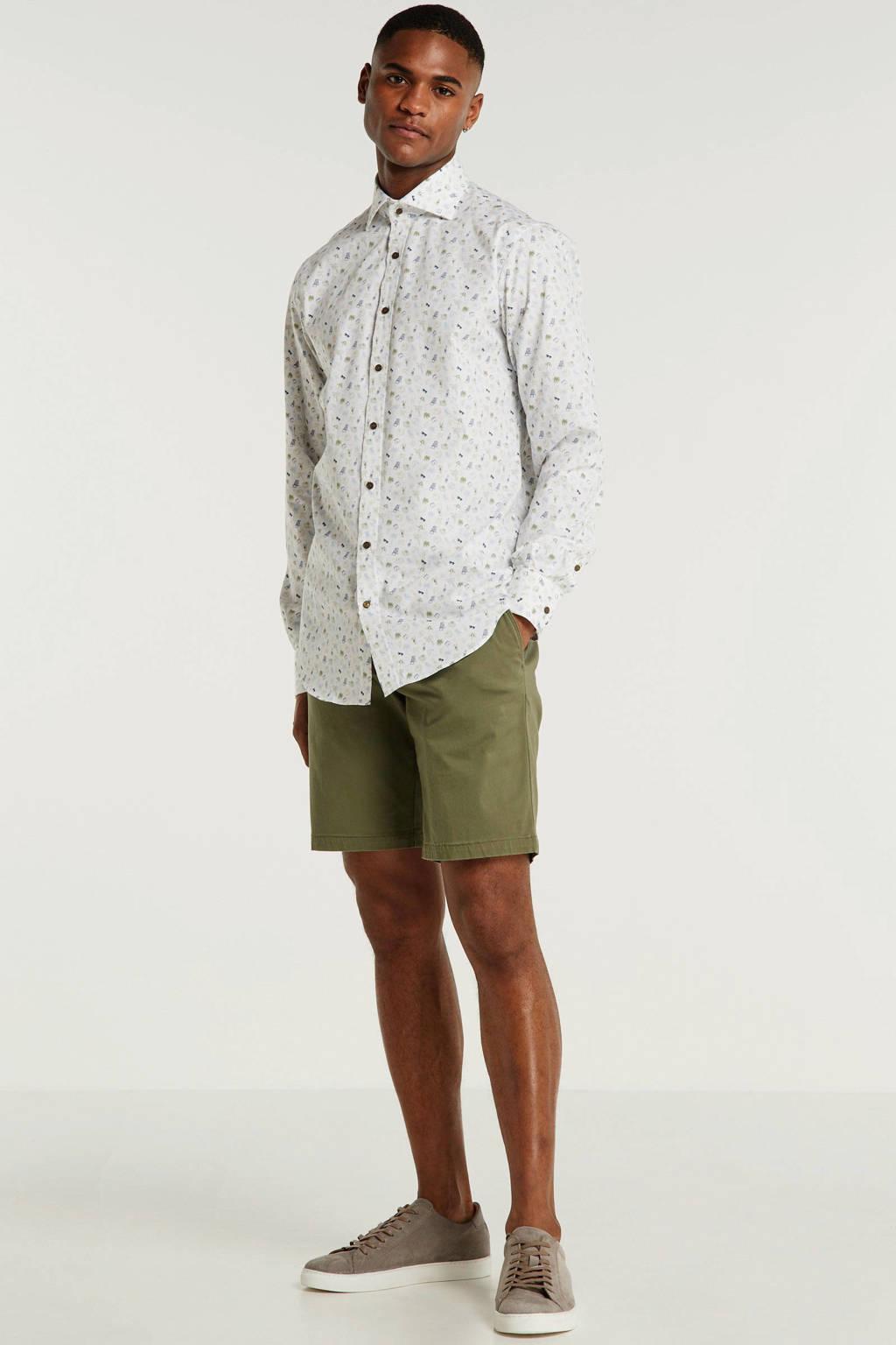 Michaelis slim fit overhemd met all over print wit, Wit