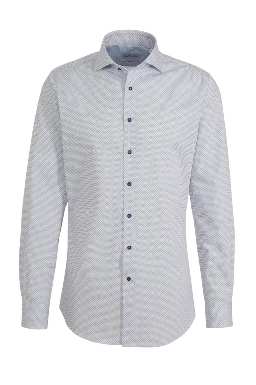 Michaelis slim fit overhemd met mouwlengte 7 blauw, Blauw