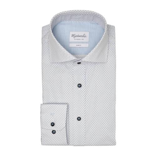 Michaelis slim fit overhemd met mouwlengte 7 blauw