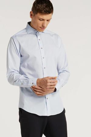 gestreept slim fit overhemd lichtblauw