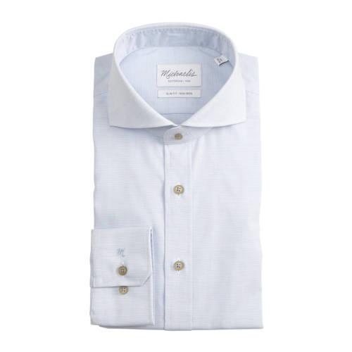 Michaelis gestreept slim fit overhemd lichtblauw