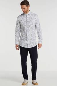 Michaelis slim fit overhemd met bladprint mouwlengte 7 wit, Wit