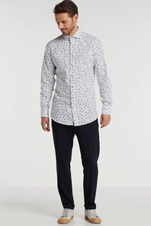 slim fit overhemd met bladprint mouwlengte 7 wit