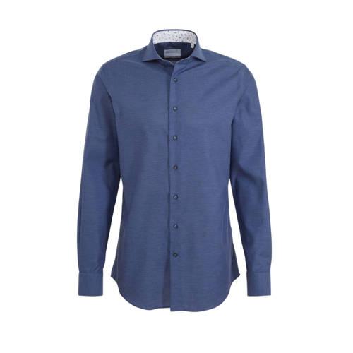 Michaelis slim fit overhemd mouwlengte 7 donkerbla