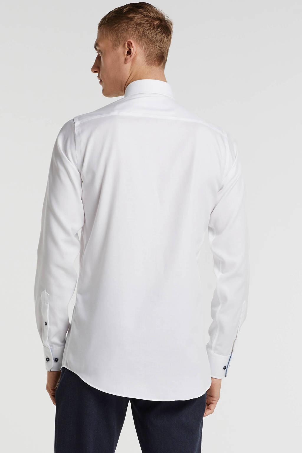 Michaelis slim fit overhemd mouwlengte 7 wit, Wit