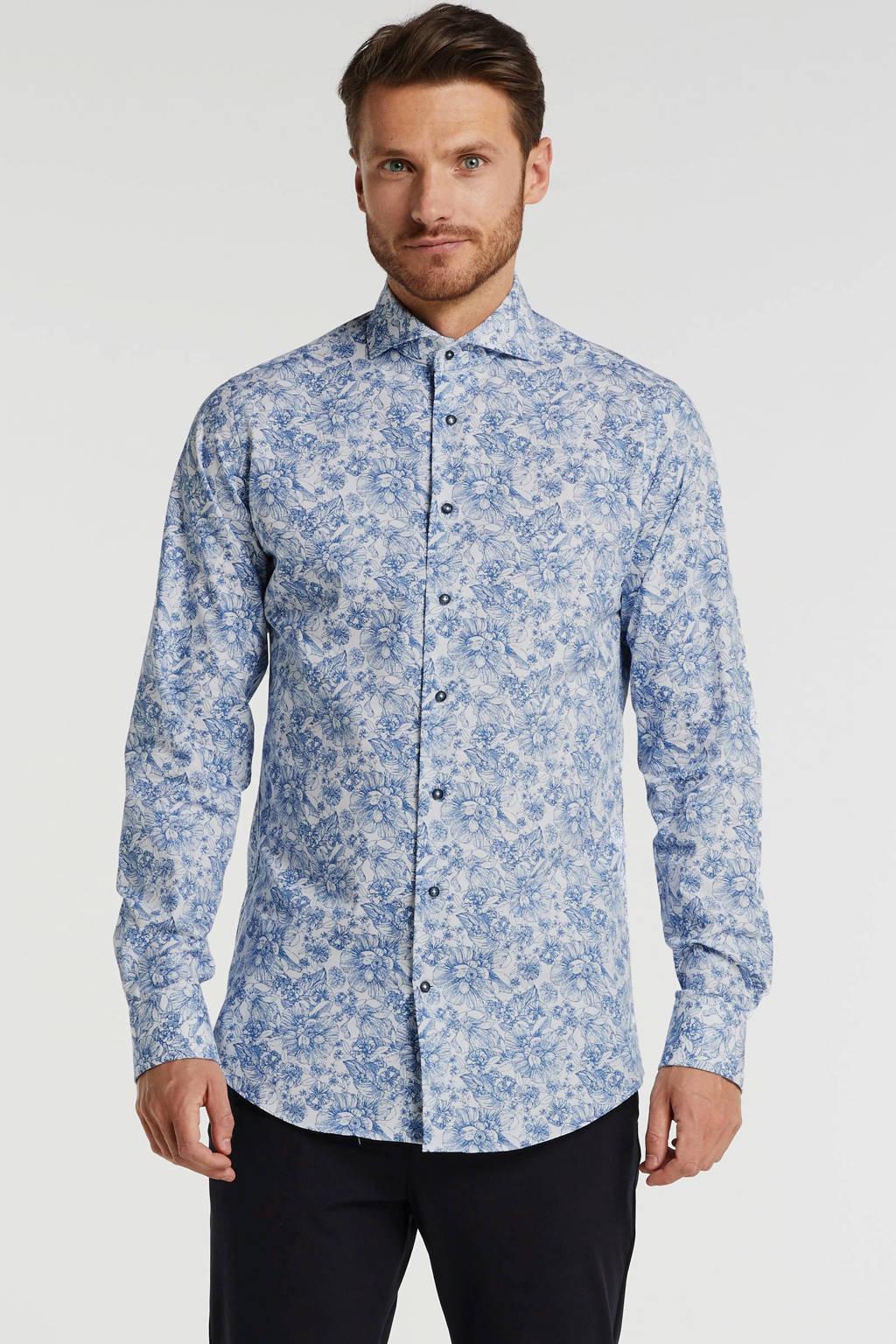 Michaelis gebloemd slim fit overhemd mouwlengte 7 blauw, Blauw