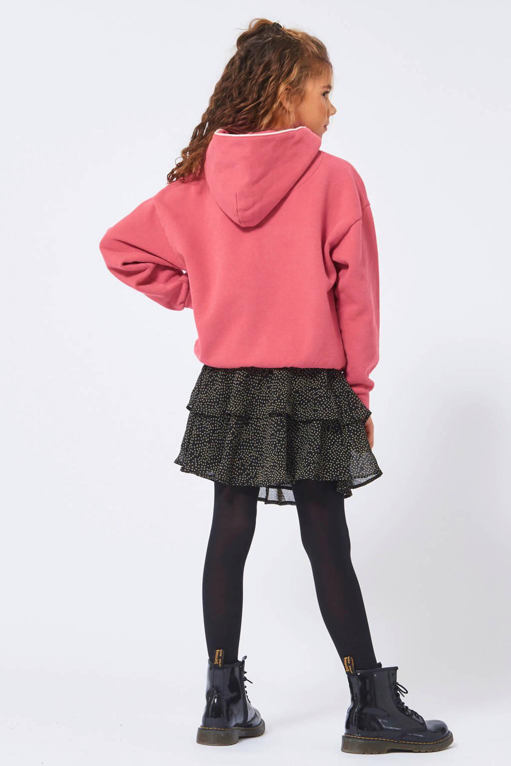 America Today Junior hoodie Peanunt met borduursels roze, Roze