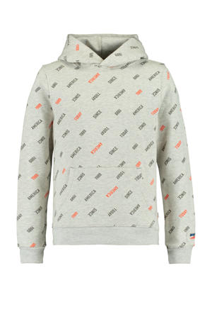hoodie met all over print grijs/zwart/rood