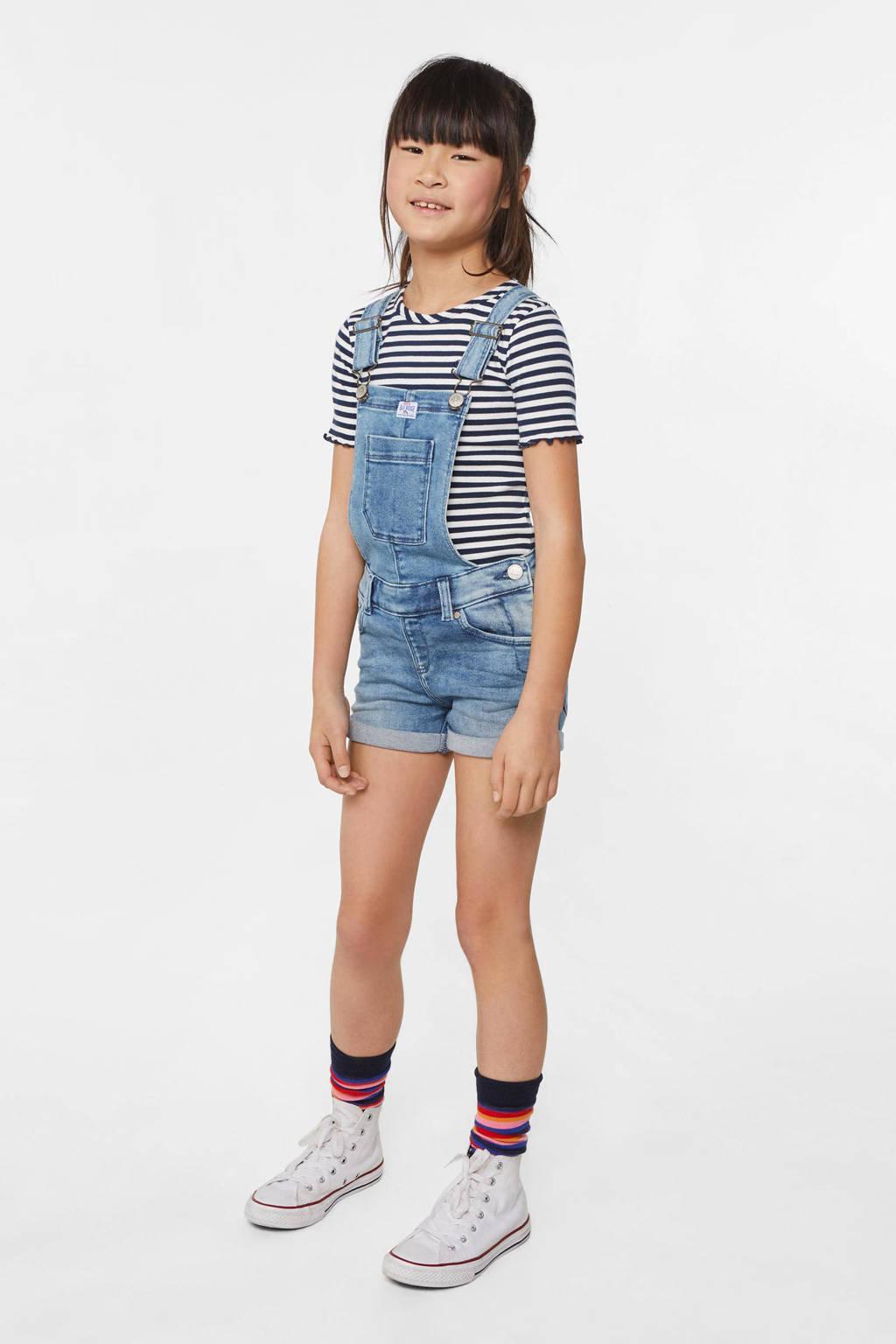WE Fashion gestreept ribgebreid T-shirt donkerblauw/wit, Donkerblauw/wit