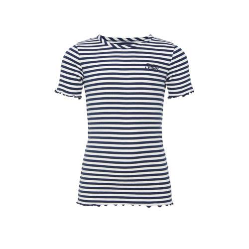 WE Fashion gestreept ribgebreid T-shirt donkerblau