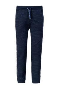 WE Fashion   joggingbroek met contrastbies donkerblauw, Donkerblauw