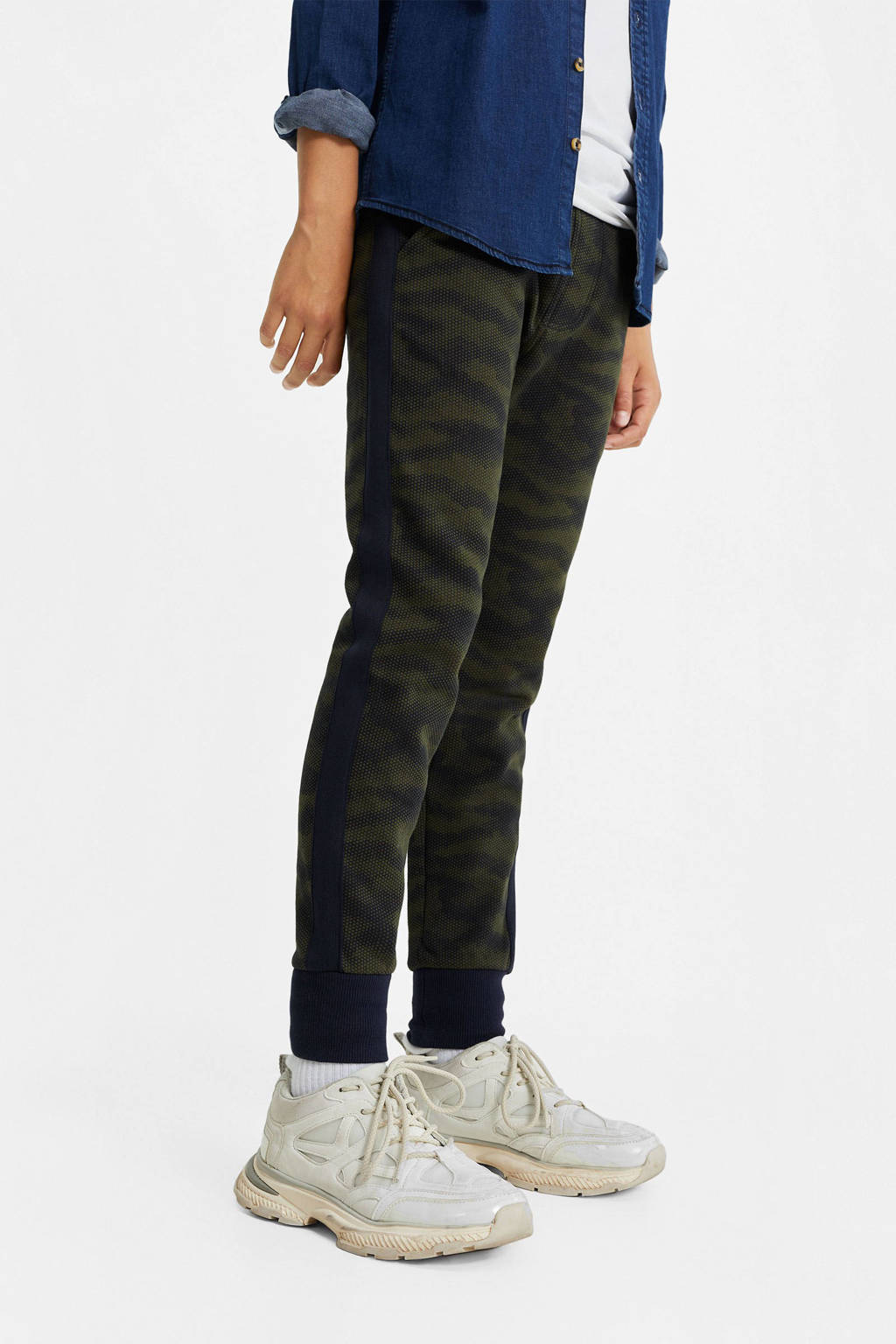 WE Fashion slim fit broek met zijstreep donkerblauw/groen, Donkerblauw/groen