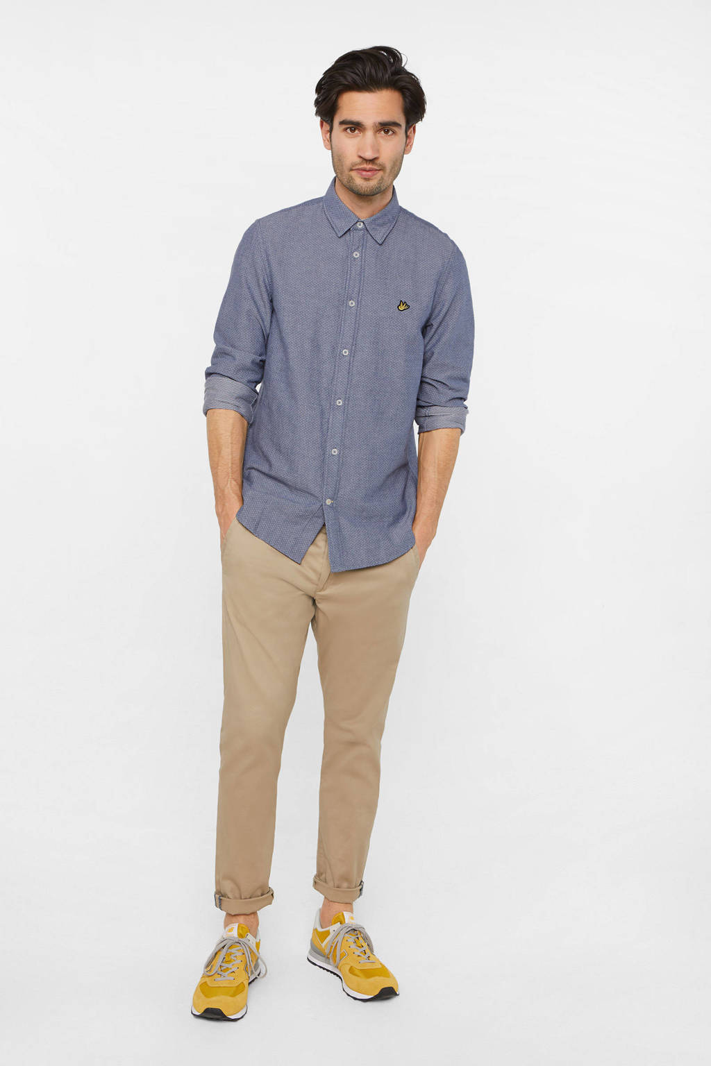 WE Fashion gemêleerd slim fit overhemd blue whale, Blue Whale