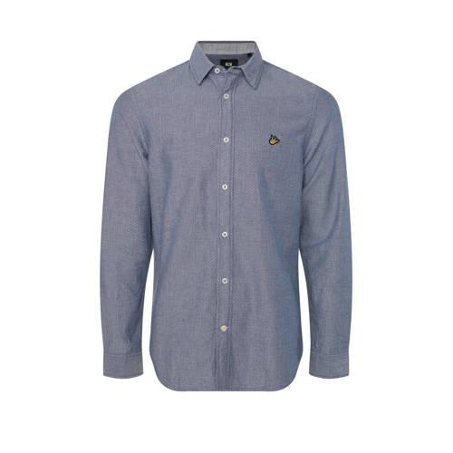 WE Fashion gem??leerd slim fit overhemd blue whale
