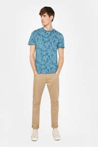 WE Fashion T-shirt met bladprint blauw/lichtblauw, Blauw/lichtblauw