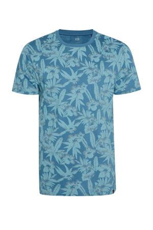 T-shirt met bladprint blauw/lichtblauw