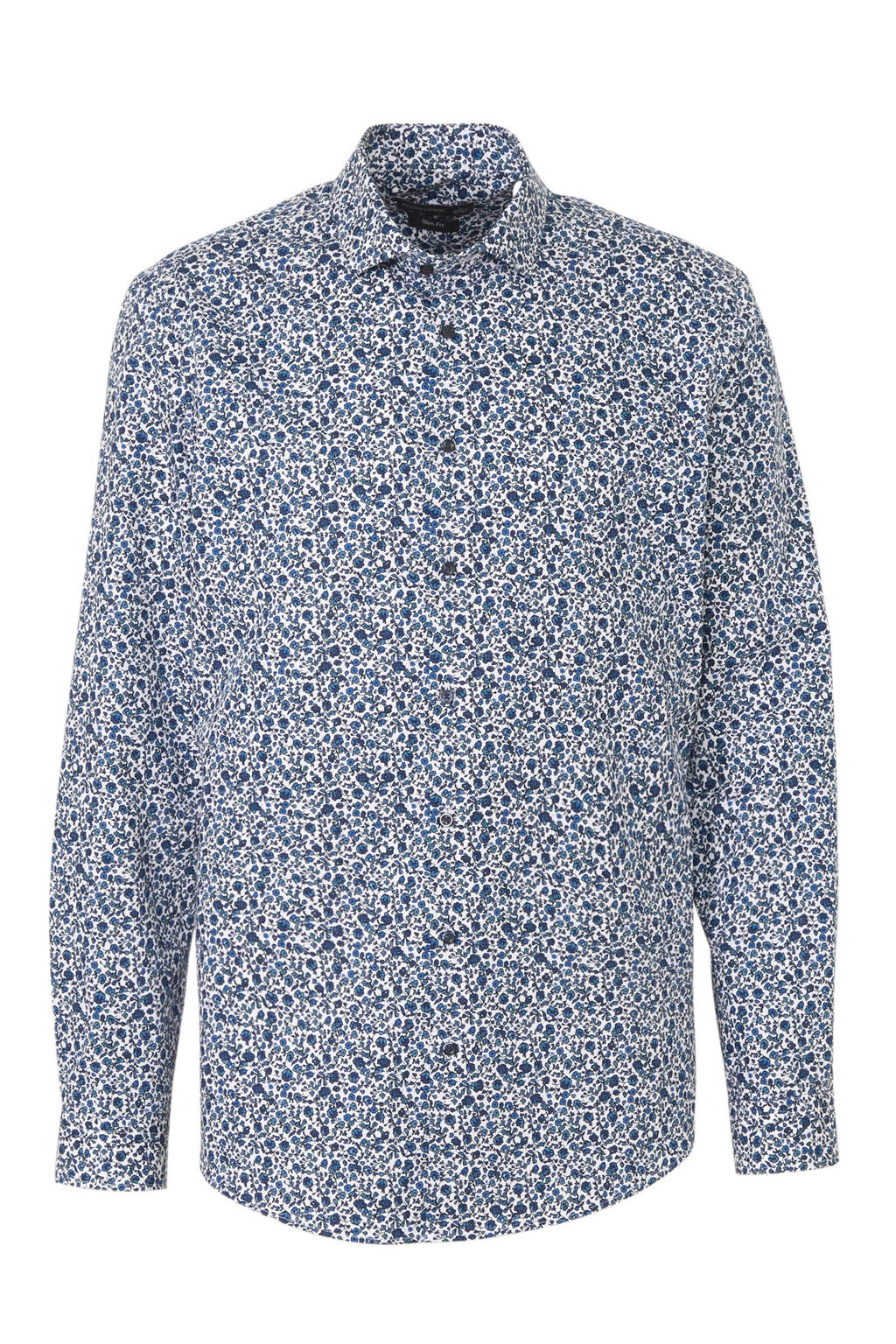 C&A Angelo Litrico slim fit overhemd met all over print blauw, Blauw