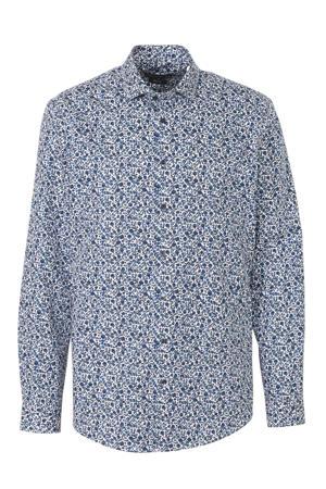 Angelo Litrico slim fit overhemd met all over print blauw