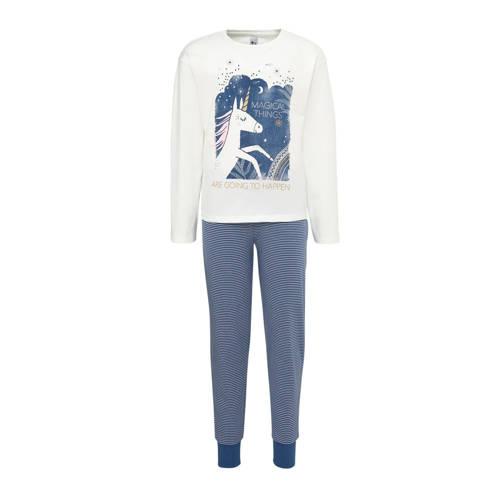 C&A Here & There pyjamabroek en longsleeve wit-donkerblauw-goud set van 2